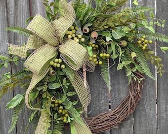 Everyday Wreath, Everyday Pod and Burlap Wreath, Spring Wreath, Summer Wreath, Fall Wreath, Door Wreath, Front Door Wreath
