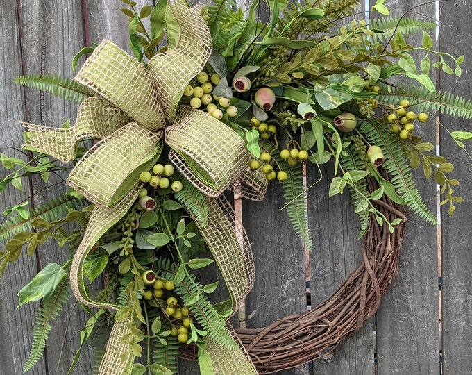 Featured listing image: Everyday Wreath, Everyday Pod and Burlap Wreath, Spring Wreath, Summer Wreath, Fall Wreath, Door Wreath, Front Door Wreath