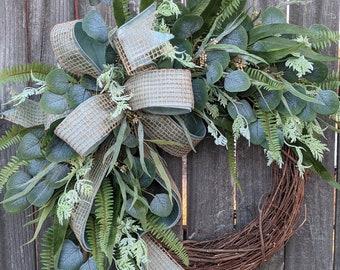 Wreath - Eucalyptus Wreath - Everyday Wreath - Wreath, Front Door Wreath, All Year Round Door Wreath, Door Wreath, Wreath with Bow