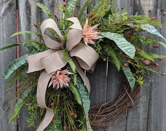 Everyday Wreath, Everyday Bromeliad Wreath, Spring Wreath, Summer Wreath, Fall Wreath, Door Wreath,  Front Door Wreath, Tropical Blush