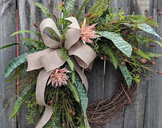 Featured listing image: Everyday Wreath, Everyday Bromeliad Wreath, Spring Wreath, Summer Wreath, Fall Wreath, Door Wreath,  Front Door Wreath, Tropical Blush