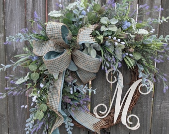Everyday Wreath, Lambs Ear Wreath, Beach Wreath , Pale Blue and Purple Gray Wreath, Front Door Wreath Lavender Ocean Wreath, Full Size