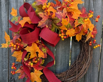 Fall Wreath, Fall Berry Wreath, Fall Leaf Wreath, Bright Fall Leaves Wreath