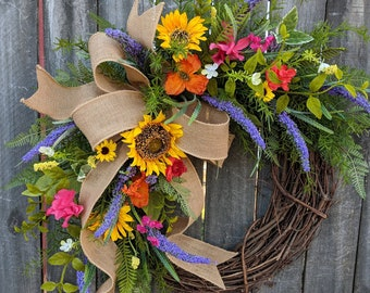 Spring Wreath, Spring/Summer Wreath, Spring Wreath with Bow,  Sunflower Wreath, Summer Wreath, Purple Wreath, Spring Door Wreath