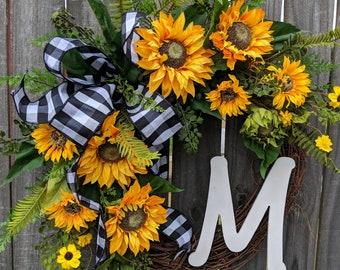 Front Door Wreath, Door Wreath, Spring Wreath, Sunflower Wreath, Spring and Summer Wreath, Monogram Wreath, burlap wreath, burlap bow