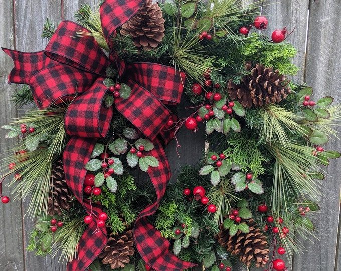 Featured listing image: Christmas Wreath, Buffalo Check Winter Wreath, Black and Red Check Natural  Christmas wreath Sparkle Natural Holly, Red Berries, Christmas
