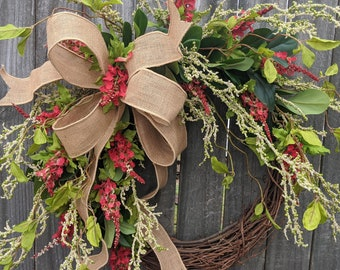 Wreath, Wild Berry Wreath, Everyday Wreath, Red and Green Front Door Wreath, everyday Wreath, Door Wreath LIMITED EDITION