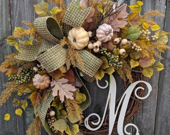 Fall White Pumpkin Wreath, Cream Pumpkin Wreath, Green Fall Wreath, Fall Wreath,  Fall, Front Door Wreath, Etsy