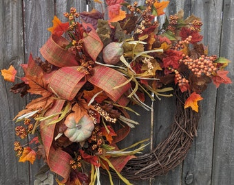 Pumpkin Fall Wreath, Berries, Fall Bow, Wired Fall Plaid Bow, Halloween Wreath, Fall Decoration, Pumpkin Fall Wreath,  Orange
