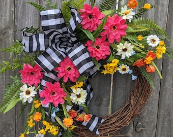 Spring Wreath, Summer Wreath, Front Door Wreath, Bright fun Wreath, Black and White Buffalo Check Door Wreath, Wreath with Bow