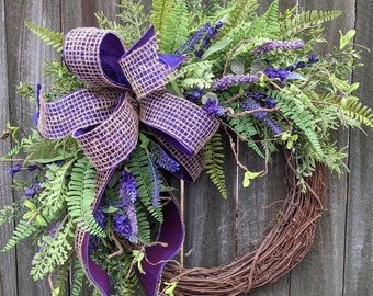 Spring Wreath, Spring Lavender Wreath, Purple Wreath, Mother's Day Wreath, Houswarming Gift, Wreath for Spring and Summer, Front Door Wreath