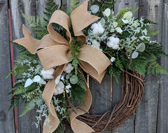 Cotton Wreath - Wreath Great for All Year Round - Everyday Cotton Wreath, Door Wreath,  Burlap Bow Wreath, Etsy Wreath