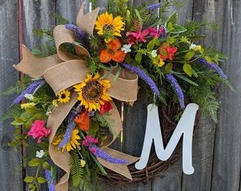 Spring Wreath - Spring Sunflower Purple Wreath,  Front Door Wreath Decor, Monogram Springtime Wreath, Bright Colors Summer Wreath, Etsy