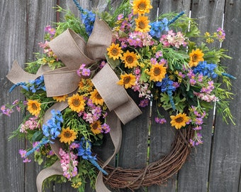 Spring Wreath, SUNFLOWER Wreath, LIMITED EDITION Wreath, Spring blue, yellow, pink Wreath, Wreath Spring and Summer, Wildflower MixWreath