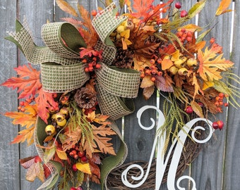 Fall Wreath, Wreath for Fall / Autumn, Burlap Fall Wreath, Burlap Fall Monogram Wreath, Wreath with Letter, Horn's