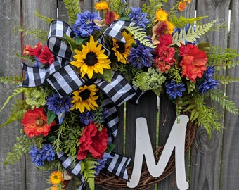 Wreath, Wreath for Door, Sunflower Poppy Fields Wreath, Colorful Wreath, Black and White buffalo Check Bow, Country Style Wreath