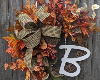 Wreaths fall wreath autumn wreath monogram wreath berry leaf wreath front door wreath burlap bow Thanksgiving fall door wreaths