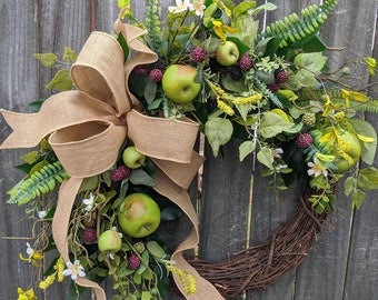 Spring Fruit Wreath, Apple wreath, Orchard wreath, welcome wreath, Harvest Berry Wreath, Door wreath, Spring Summer Fall Wreath