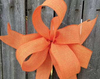 Wreath Bow, Orange Wreath Bow, Fall, Summer, Halloween, Wreath, Lantern, Wedding Decor, Pumpkin Bow