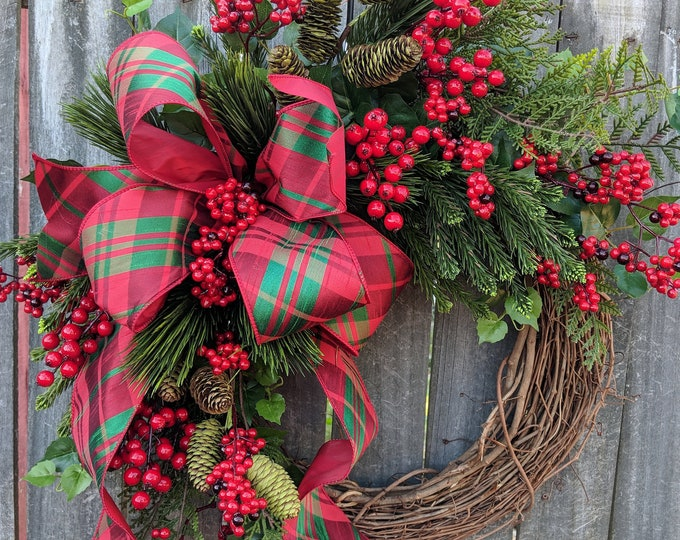 Featured listing image: Christmas Wreath, Plaid Christmas Wreath, Realistic Wreath, Grapevine Wreath, New Traditional Berry Christmas Wreath, Elegant Grapevine