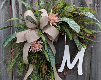 Wreath for everyday, Wedding Wreath, Blush Wreath,  Light Pink Tropical Wreath, Monogram Wreath