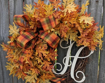 Fall Wreath, Fall Leaves Wreath, Fall Wreath with Bow and Monogram Option