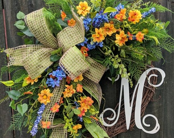 Spring wreath, wildflower wreath, fern wreath, welcome wreath, Easter wreath, door wreath