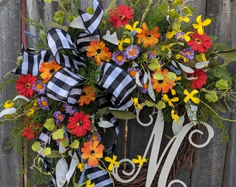 Door Wreath, Monogram Wreath, Black and White Wreath, Wreath for All Year Round, Everyday Wreath, Green Wreath, Natural Wild Front Door
