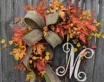 Fall Wreath, Wreath for Fall / Autumn, Burlap Fall Wreath, Burlap Fall Monogram Wreath, Wreath with Letter, Horn's