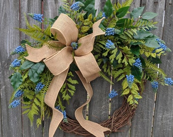 Everyday Wreath, Touch of Blue Wreath, Spring Bulb and Fern Wreath, Front Door Wreath, everyday Wreath, Door Wreath LIMITED EDITION