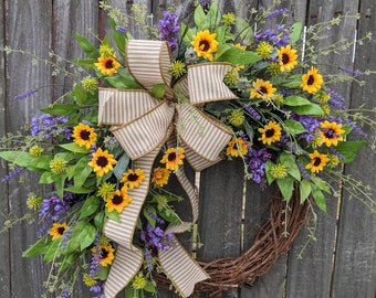 Wreath, Sunflower Lilac Wreath, Wreath, Burlap Ticking  Wreath, Wreath for Spring, Summer, Front Door Wreath, Etsy