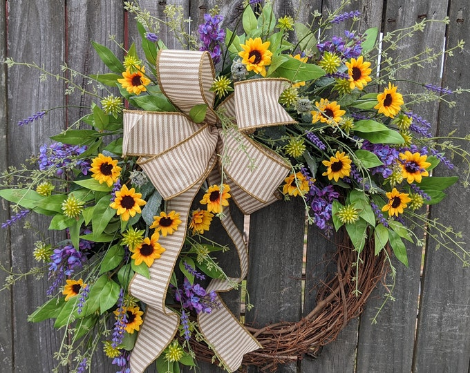 Featured listing image: Wreath, Sunflower Lilac Wreath, Wreath, Burlap Ticking  Wreath, Wreath for Spring, Summer, Front Door Wreath, Etsy