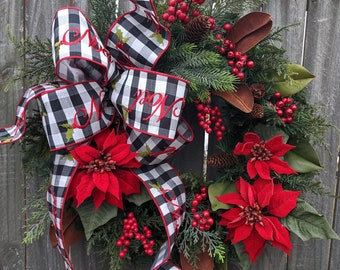 "Christmas Wreath Black and White ""Noel"" Wreath, Poinsettia Wreath Traditional Elegant Christmas Magnolia Wreaths, Door Wreath"