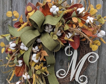 Wreath, Fall Cotton Wreath in Green, Fall Wreath with Letter, Magnolia Wreath, Fall Harvest Wreath ,Fall Cotton Wreath with Monogram