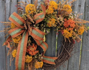 Fall / Autumn Wreath Green, Rust, Mustard, Fall Door Wreath, Fall Colors Wreath, Fall Etsy Wreath, Fall / Autumn Decoration