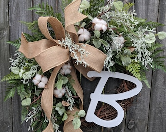 Wreath with Cotton, Monogram Wreath