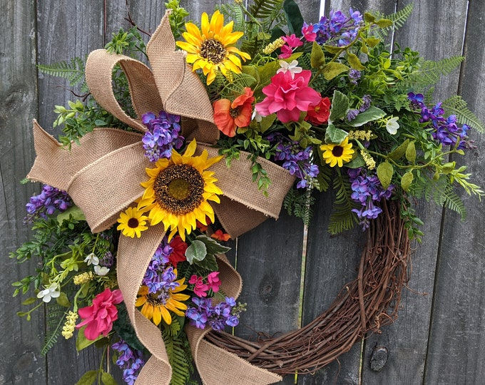 Featured listing image: Spring Wreath, Spring/Summer Wreath, Spring Wreath with Bow,  Sunflower Wreath, Summer Wreath, Purple Wreath, Spring Door Wreath