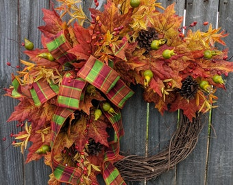 Fall Wreaths, Halloween Wreaths, Wreaths for fall, Bright Elegant Halloween Thanksgiving wreath, Wreaths for door, Wreaths Autumn Wreath