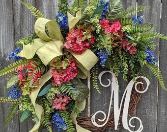 Door Wreath, Spring Wreath, Front Door Decor, Hydrangea wreath, Wreaths for Mother's Day, Wreath for Spring and Summer, Front Door Wreath
