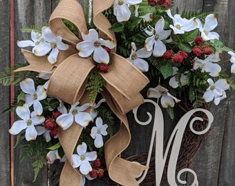 Spring Wreath, Mothers Day Wreath, Spring Wreath for Door with Dogwood, Easter Wreath, Etsy Wreath - Spring Wreaths