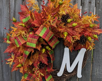 Fall Wreath, Fall Wreaths, Thanksgiving and Halloween Wreath, Bright Fall Leaves, Monogram Letter Option, Pine Cones, Wedding Wreath, Gift