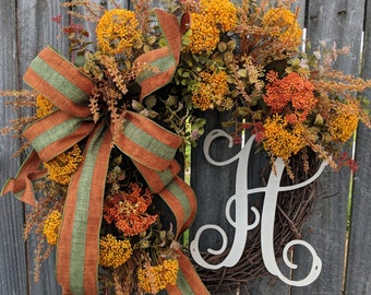 Fall Door Wreath, Fall Wildflower Wreath, PVC Dried Flower-Look Rust, Brown, Mustard, Green Fall Wreath, with Bow, Wired Ribbon Bow
