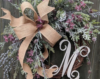 Christmas Succulent Wreath, All Winter Long Christmas Succulent Wreath, Wild Burlap Succulent Winter Wreath, Christmas Wreath No Red, Frosty