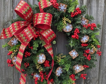 Christmas / Holiday Wreath - Kitchen Christmas Cookie Wreath, Cozy Sweater wreath Gingerbread wreath