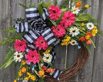 Wildflower Wreath, Spring / Summer Wreath, Black and White Buffalo Check Wildflower Farm Wreath