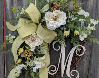 Spring Wreath - Wedding Ivory, White, Wreath Green Cream - Everyday Wreath, Door Wreath, Front Door Wreath