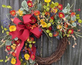 Spring Wreath, Spring/Summer Wreath, Spring Wreath with Bow,  Poppy Fields, Wreath, Summer Wreath, Red Wreath, Spring Door Wreath