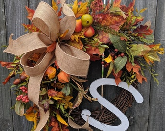 Wreaths fall wreath autumn wreath monogram wreath fruit leaf wreath front door wreath burlap bow Thanksgiving fall door wreaths