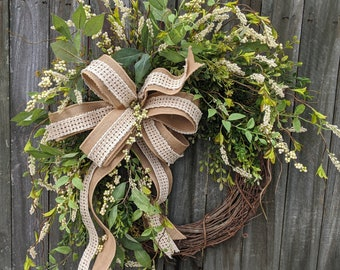 Everyday Wreath, Everyday Berry and Burlap Wreath, Spring Wreath, Summer Wreath, Fall Wreath, Door Wreath, Front Door Wreath