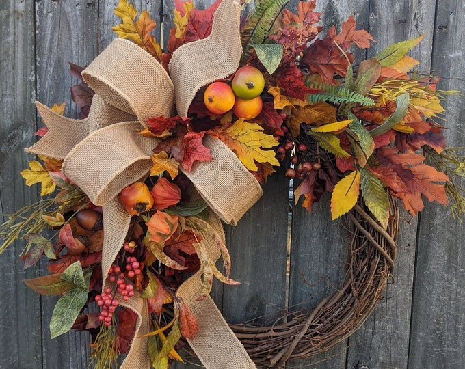 Featured listing image: Fall Wreath, Fall fruit Wreath, Fall Leaf Wreath, Fall burlap Wreath, Halloween Harvest Thanksgiving Wreath